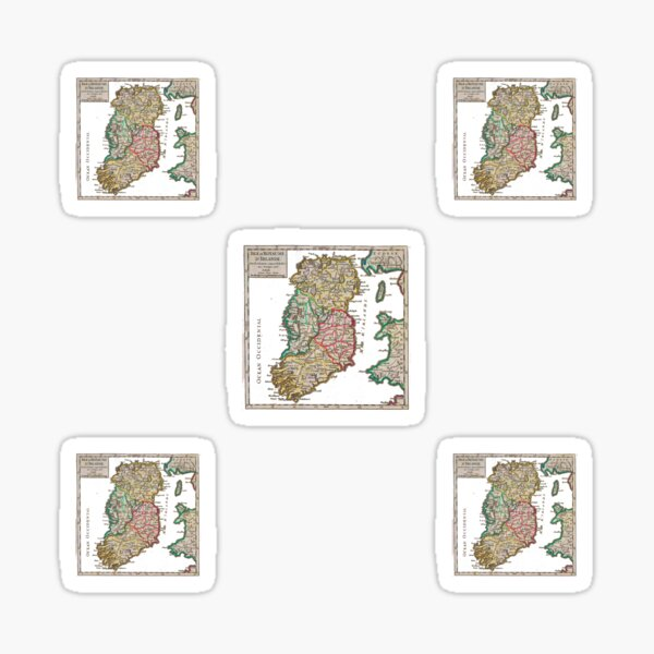 Vintage Map of Ireland, distressed and tweaked Sticker