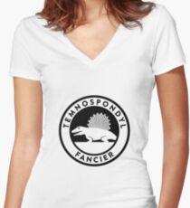 Temnospondyl Fancier Tee (Black on Light) Women's Fitted V-Neck T-Shirt