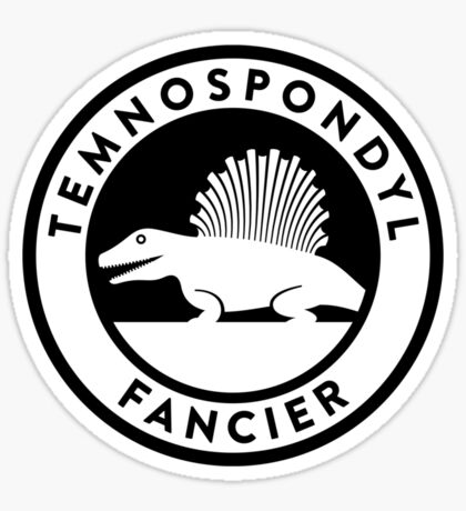 Temnospondyl Fancier Tee (Black on Light) Sticker