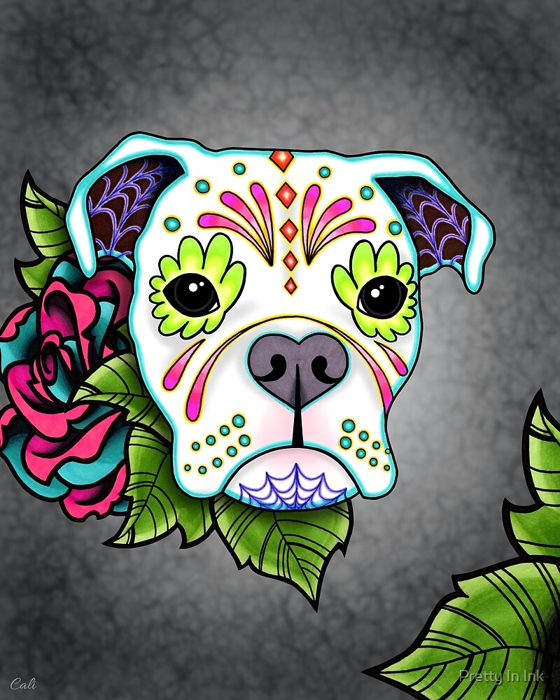 Boxer in White- Day of the Dead Sugar Skull Dog by Pretty In Ink