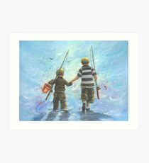 TWO BROTHERS GOING FISHING Art Print