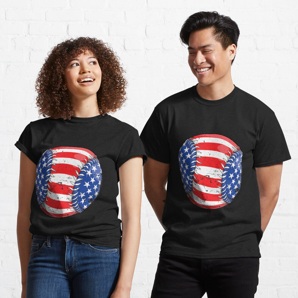 Baseball American Flag 4Th Of July  Kids Boys S Classic T-Shirt