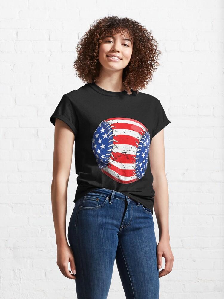 Alternate view of Baseball American Flag 4Th Of July  Kids Boys S Classic T-Shirt