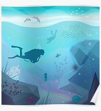 Underwater Diving Landscape Poster