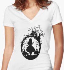 Silhouette - Alice In Wonderland Women's Fitted V-Neck T-Shirt