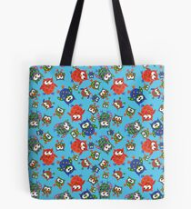 Cute Quirky Owls on Blue Background Tote Bag