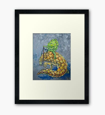Artichoke riding pangolin Framed Print