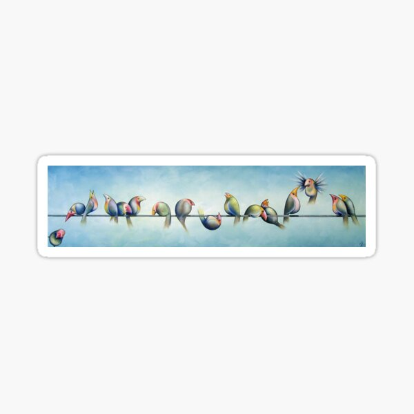Finches On Parade Sticker