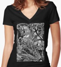St George and the Dragon Women's Fitted V-Neck T-Shirt