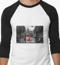 Red Bicycle By The Canal  Men's Baseball ¾ T-Shirt