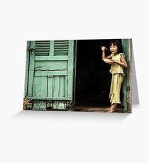 Girl with Red Spoon 0102 Greeting Card