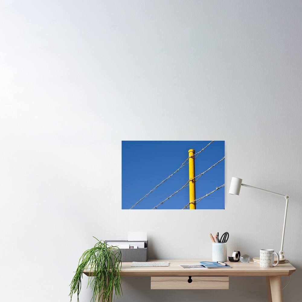 Yellow on Blue Poster