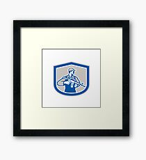 Soldier Military Serviceman Rifle Side Crest Retro Framed Print
