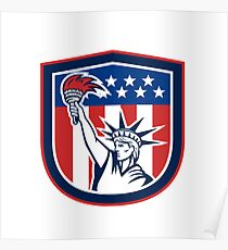 Statue of Liberty Holding Flaming Torch Shield Poster