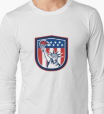 Statue of Liberty Holding Flaming Torch Shield Long Sleeve T-Shirt