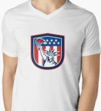 Statue of Liberty Holding Flaming Torch Shield T-Shirt