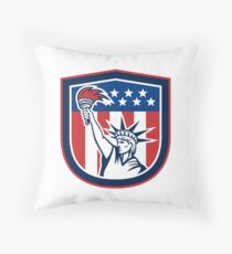 Statue of Liberty Holding Flaming Torch Shield Throw Pillow