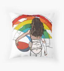 little girl on the beach with a beach ball and rainbow Throw Pillow