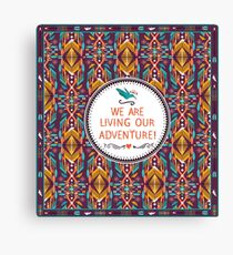 Hipster seamless aztec pattern with geometric elements and typographic text Canvas Print