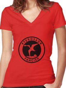 Pterosaur Fancier Tee (Black on Light) Women's Fitted V-Neck T-Shirt