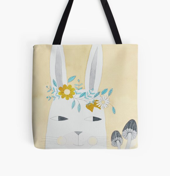 Spring bunny illustration in yellow All Over Print Tote Bag