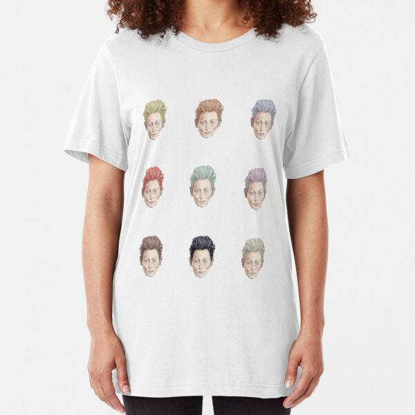 Colorful Tilda Heads on White Slim Fit T-Shirt