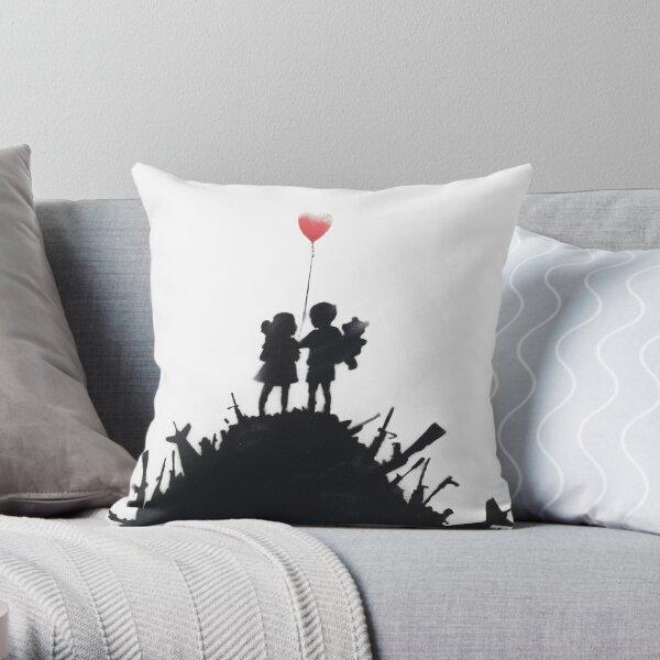 Banksy 'kids on guns hill' graffiti art. Throw Pillow