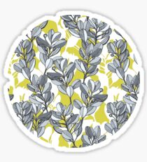 Leaf and Berry Sketch Pattern in Mustard and Ash Sticker