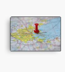 Boston on a Map Canvas Print