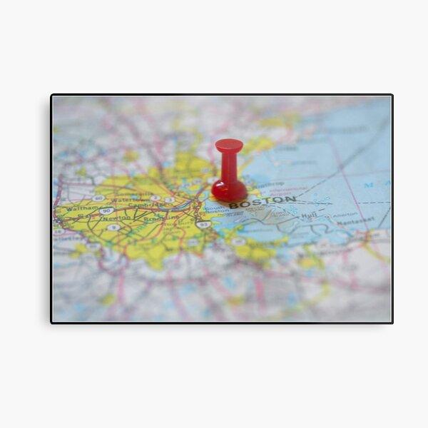 Boston on a Map Metal Print