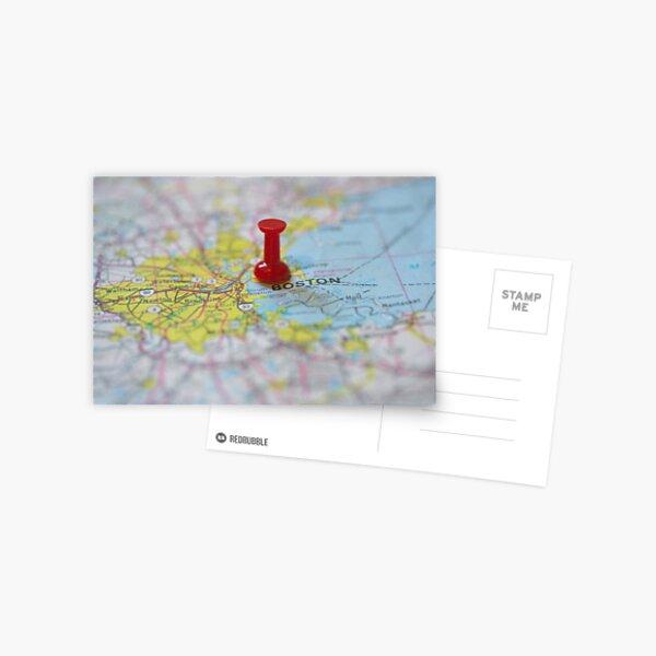 Boston on a Map Postcard