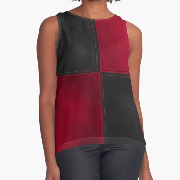 Patchwork Red & Black Leather Effect Motley Sleeveless Top