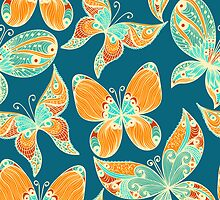 Butterflies. Hand drawn pattern by Patternalized