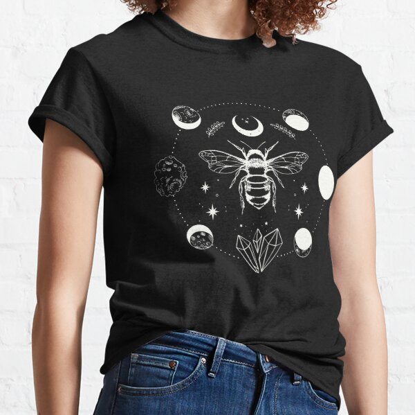 Mystical Magical Bee with Moon Phase, Stars, Crystals   Witchy Boho Celestial Classic T-Shirt