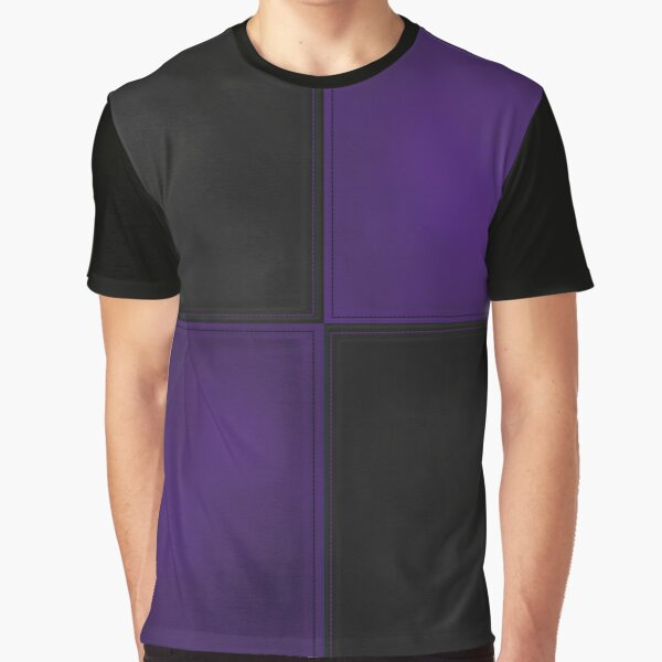 Patchwork Purple and Black Leather Motley Graphic T-Shirt