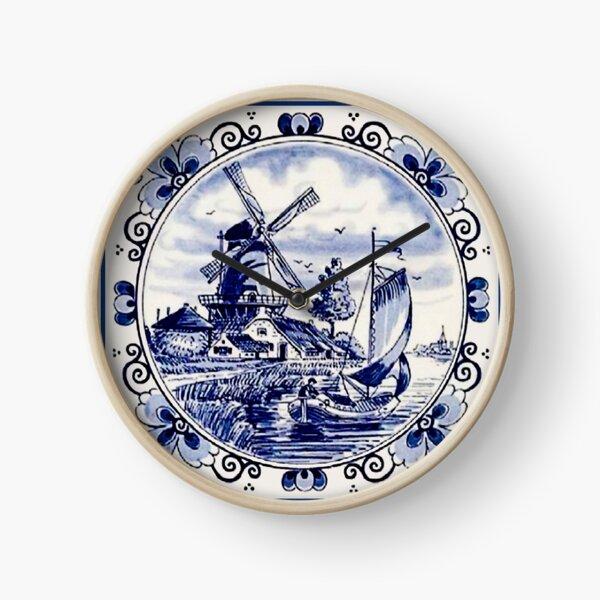 Vintage Windmill Poster In Dutch Blue Delft Clock