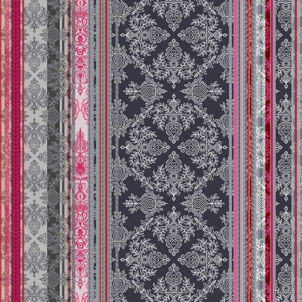 Burgundy, Pink, Navy & Grey Vintage Bohemian Wallpaper by micklyn