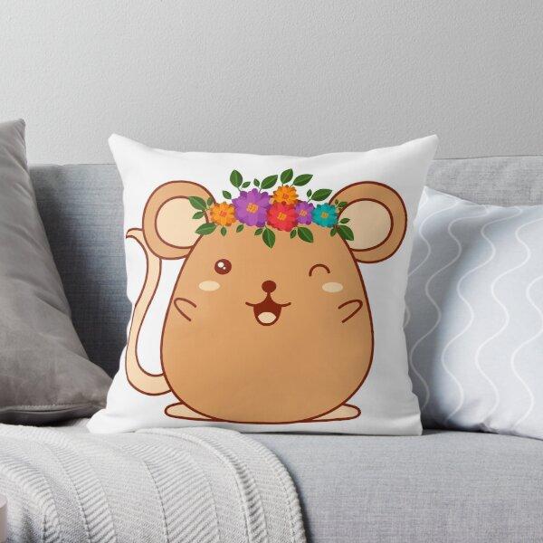 Happy hamster sticker Throw Pillow