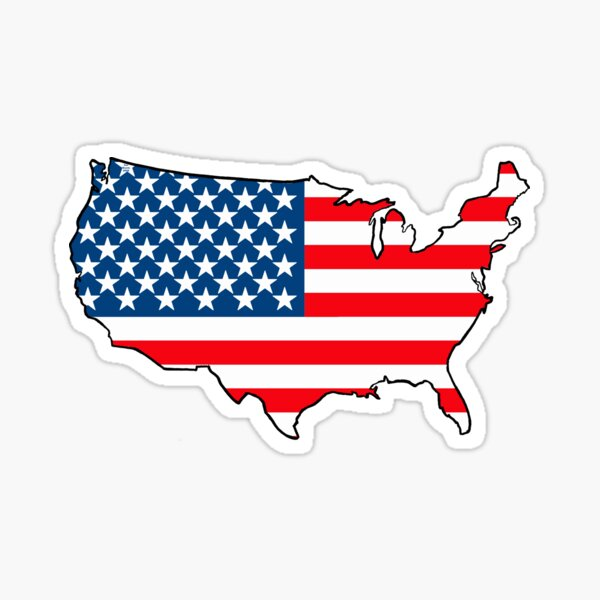 United States of America Map with USA Flag Sticker
