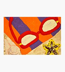 Beach Towel with Glasses, Seashell, and Starfish Photographic Print
