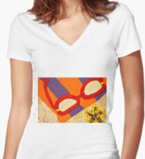 Beach Towel with Glasses, Seashell, and Starfish Women's Fitted V-Neck T-Shirt