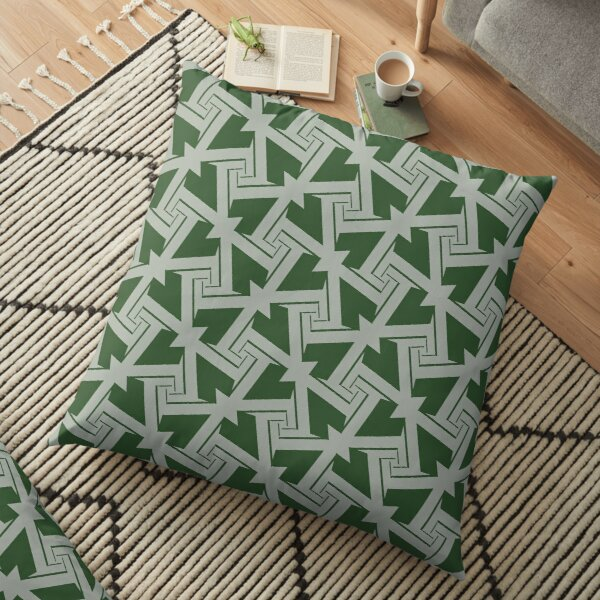 Modern Grey Green Pattern Design 1397 Floor Pillow