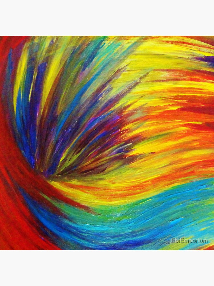 RAINBOW EXPLOSION - Vibrant Smile Happy Colorful Red Bright Blue Sunshine Yellow Abstract Painting  von EbiEmporium