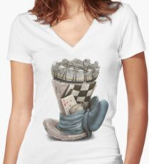 Playing chess hat, Chess themed Women's Fitted V-Neck T-Shirt