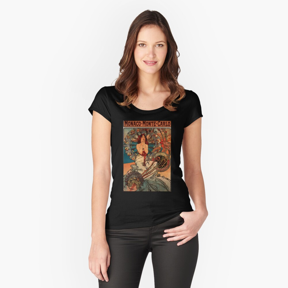 'Monaco' by Alphonse Mucha (Reproduction) Women's Fitted Scoop T-Shirt Front