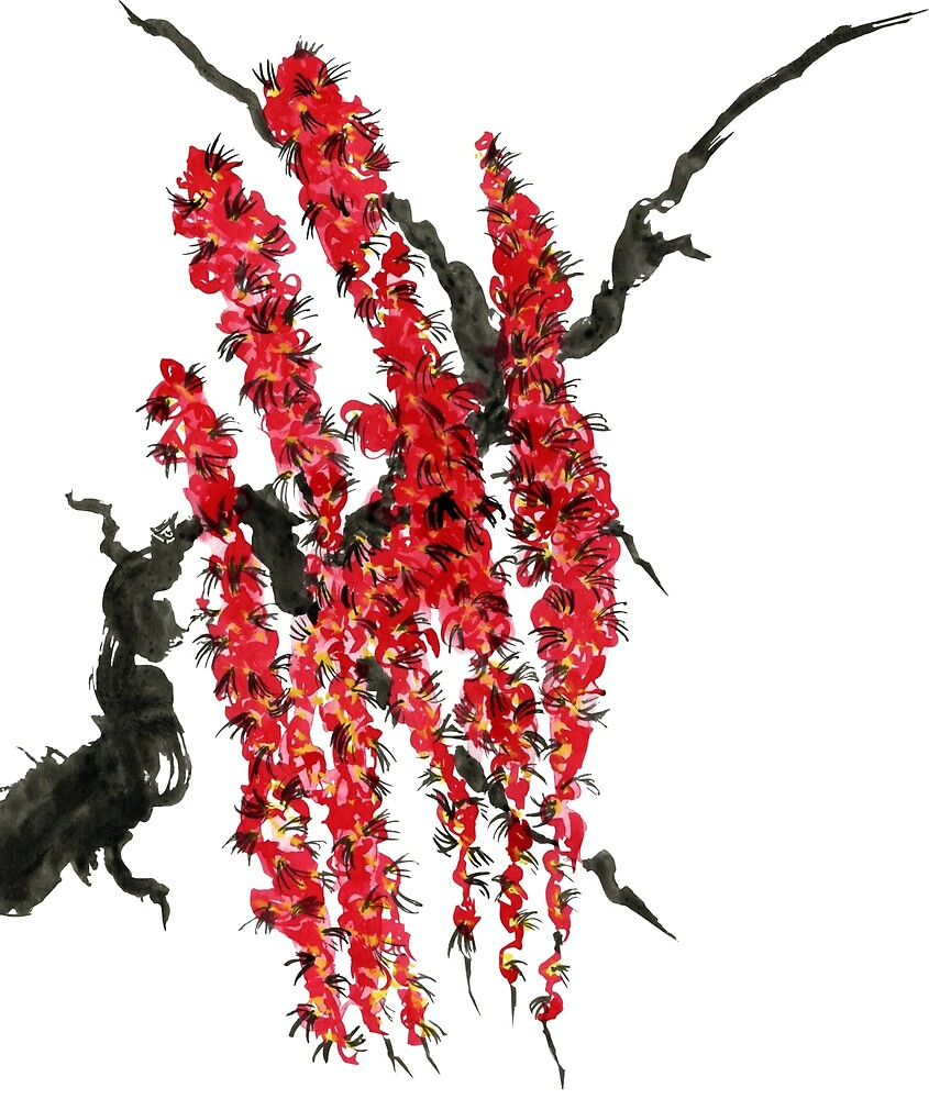 A branch of a blossoming cherry. Red flowers of sakura by Marinakutukova
