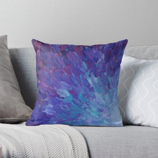 ESCALAS DE UN COLOR DIFERENTE - Pintura de acrílico abstracta Escamas de mar de la berenjena Olas del océano coloridas Cojín