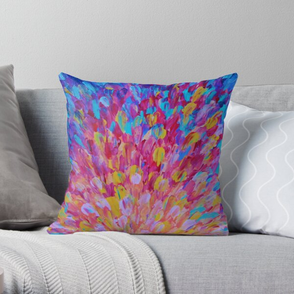 SPLASH, Revisited - Bold Beautiful Feminine Romance Ocean Beach Waves Abstract Acrylic Magenta Crimson Throw Pillow