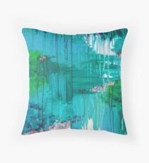 BLUE MONSOON - Stunning Rain Storm Dark Teal Clouds Vancouver Navy Royal Blue Kelly Green Crimson Red Purple Throw Pillow