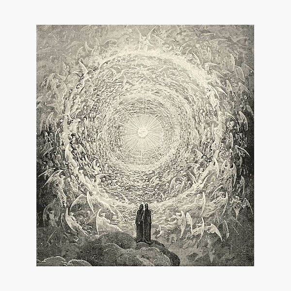 ANGELS AND DEMONS. Dante, Heaven, Heavenly, The Divine Comedy, Gustave Dore, Highest, Heaven. Photographic Print
